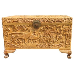 Chest 1930 Asian Wooden Carved Entirely Hand Birds Peony Flower