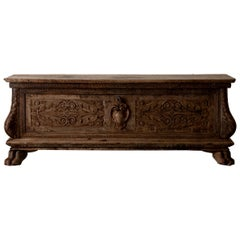 Chest Blanket Cassone Italian Baroque Oak Crest, Italy