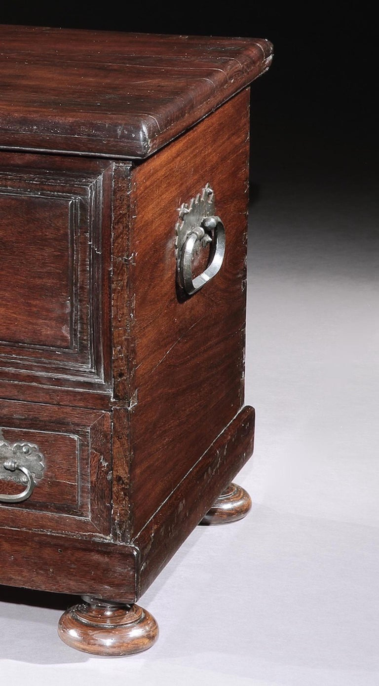 Chest, Cassone, 17th Century, Portuguese, Baroque, Brazil, Hardwood In Good Condition For Sale In Eversholt, Bedfordshire