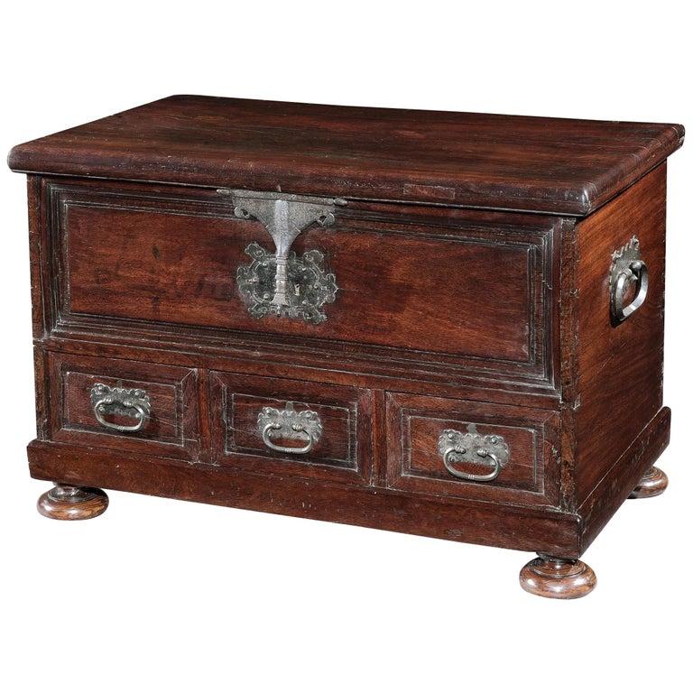 Chest, Cassone, 17th Century, Portuguese, Baroque, Brazil, Hardwood For Sale