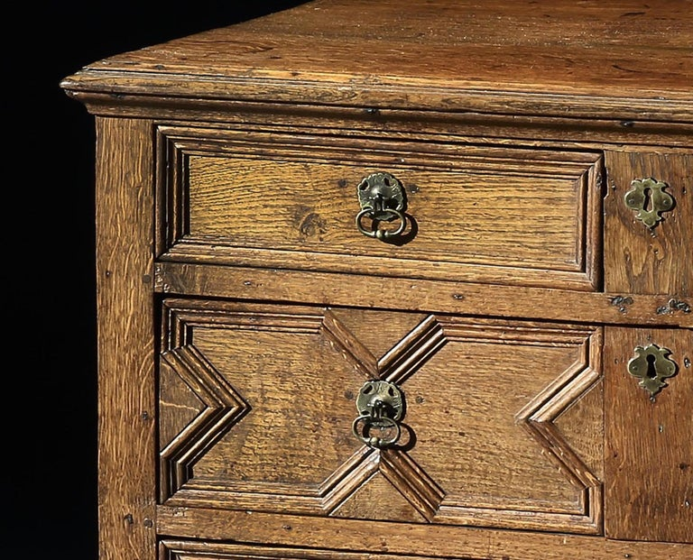 British Chest of Drawers, 17th Century, English, Charles II, Oak, Geometric Moulding For Sale