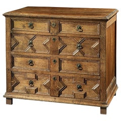 Chest of Drawers, 17th Century, English, Charles II, Oak, Geometric Moulding