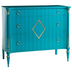 Chest of Drawers Blue Neoclassical Style