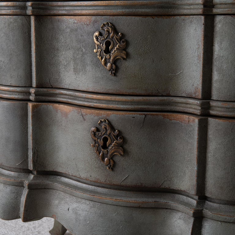 Chest of Drawers Danish Rococo 1750-1775 Greenish Blue, Denmark For Sale 8