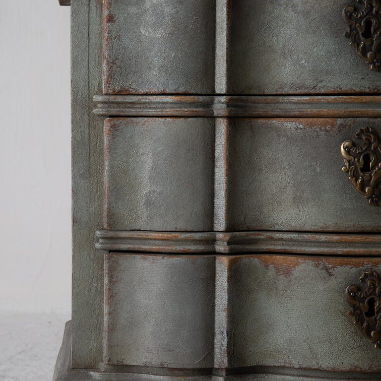 Chest of Drawers Danish Rococo 1750-1775 Greenish Blue, Denmark For Sale 11