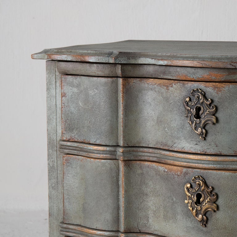 Chest of Drawers Danish Rococo 1750-1775 Greenish Blue, Denmark In Good Condition For Sale In New York, NY
