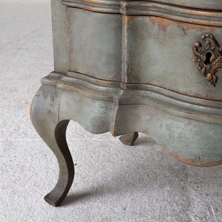 18th Century and Earlier Chest of Drawers Danish Rococo 1750-1775 Greenish Blue, Denmark For Sale