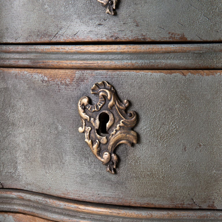 Wood Chest of Drawers Danish Rococo 1750-1775 Greenish Blue, Denmark For Sale