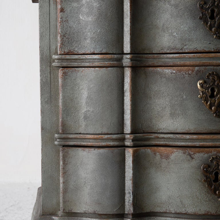 Chest of Drawers Danish Rococo 1750-1775 Greenish Blue, Denmark For Sale 1