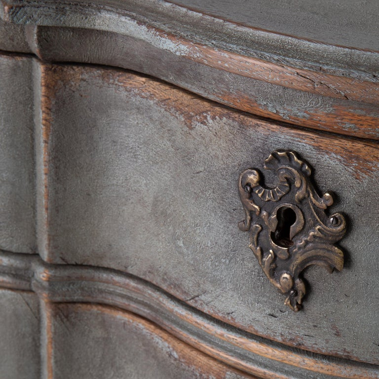 Chest of Drawers Danish Rococo 1750-1775 Greenish Blue, Denmark For Sale 2