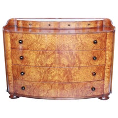 A Pair of Chests of Drawers Art Deco Style Burr Elm Veneers English Circa 1970