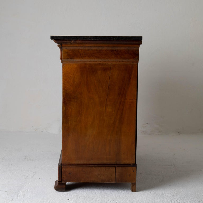 Chest of Drawers French Mahogany Stone Top, 19th Century, France For Sale 1