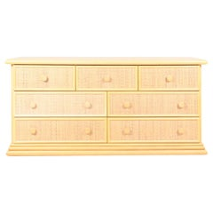 Chest of Drawers in Beech with Cane Panels by Maugrion, Made in Spain
