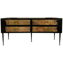 Chest of Drawers in Black Lacquered Wood Drawers with Brass Sculpture, 1970