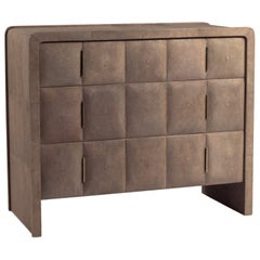 Chest of Drawers in Brown Shagreen and Bronze-Patina Brass by R&Y Augousti
