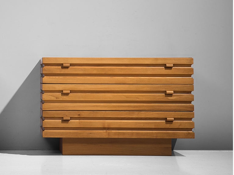 Mid-Century Modern Chest of Drawers in Elm by Maison Regain For Sale