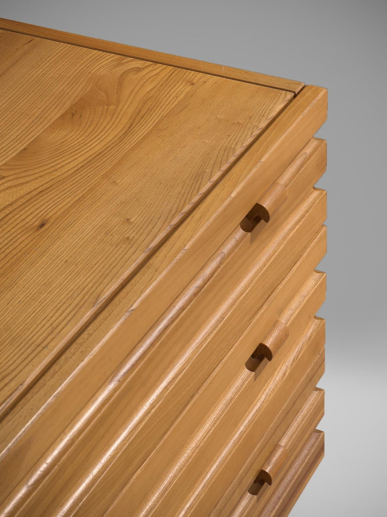 Late 20th Century Chest of Drawers in Elm by Maison Regain For Sale