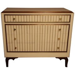 Chest of Drawers in Murano Glass and Brass Inlay, Beige and Golden Color