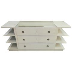 Chest of Drawers in White Lacquered Wood, circa 1970