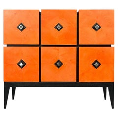 """Chest of Drawers """"Losange"""" in Orange Tinted Sycomore Open Is Tow Drawers"""