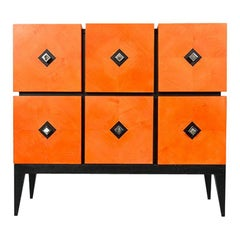 "Chest of Drawers ""Losange"" in Orange Tinted Sycomore Open is Tow Drawers"