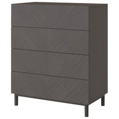 Chest of Drawers Made Solidwood & Ash Grey Venereed Panels Refined Microfiber