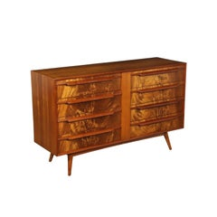 Chest of Drawers Mahogany Burl Veneer Solid Wood Argentina 1950s
