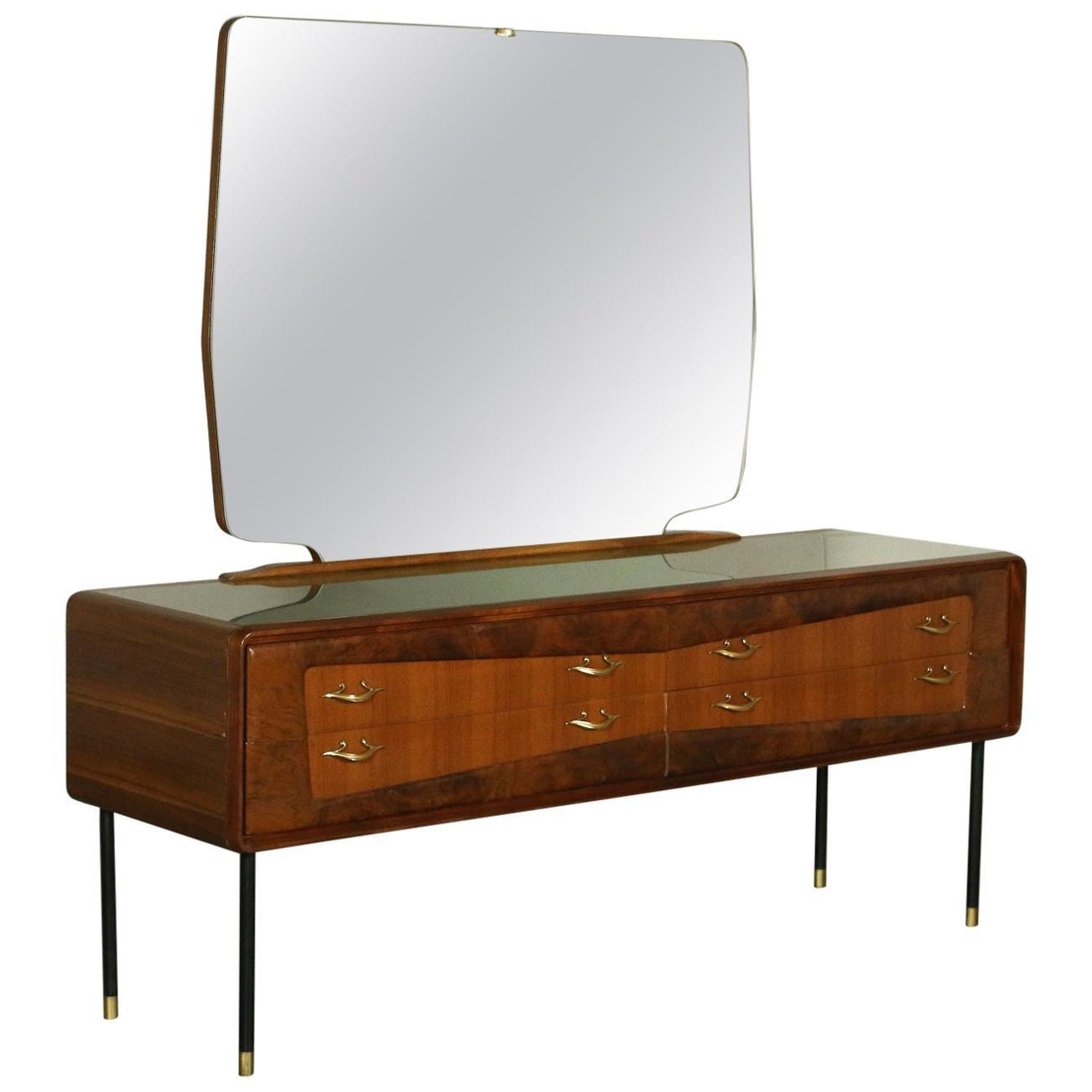 Chest of Drawers Mahogany Burr Veneer Mirror Brass Metal, Italy, 1950s-1960s