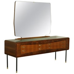 Chest of Drawers Mahogany Burr Veneer Mirror Brass Metal, Italy, 1950s-1960s