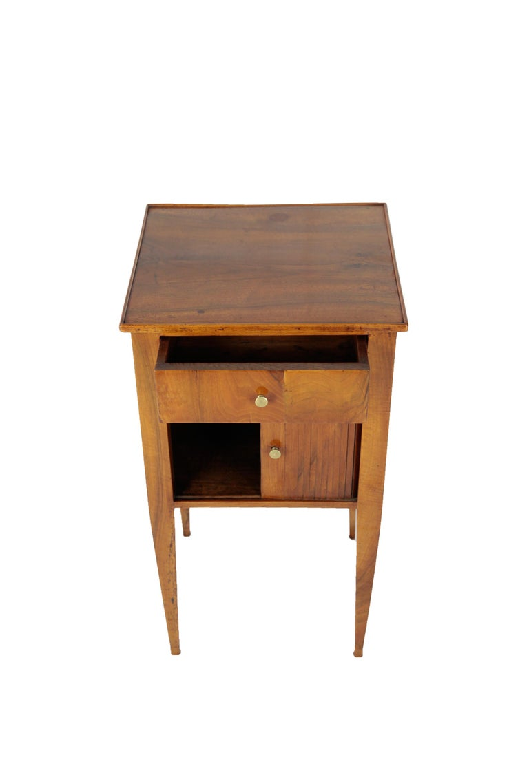 Biedermeier Chest of Drawers, Side Table with Drawer and Sliding Door, Walnut, Germany, 1820 For Sale