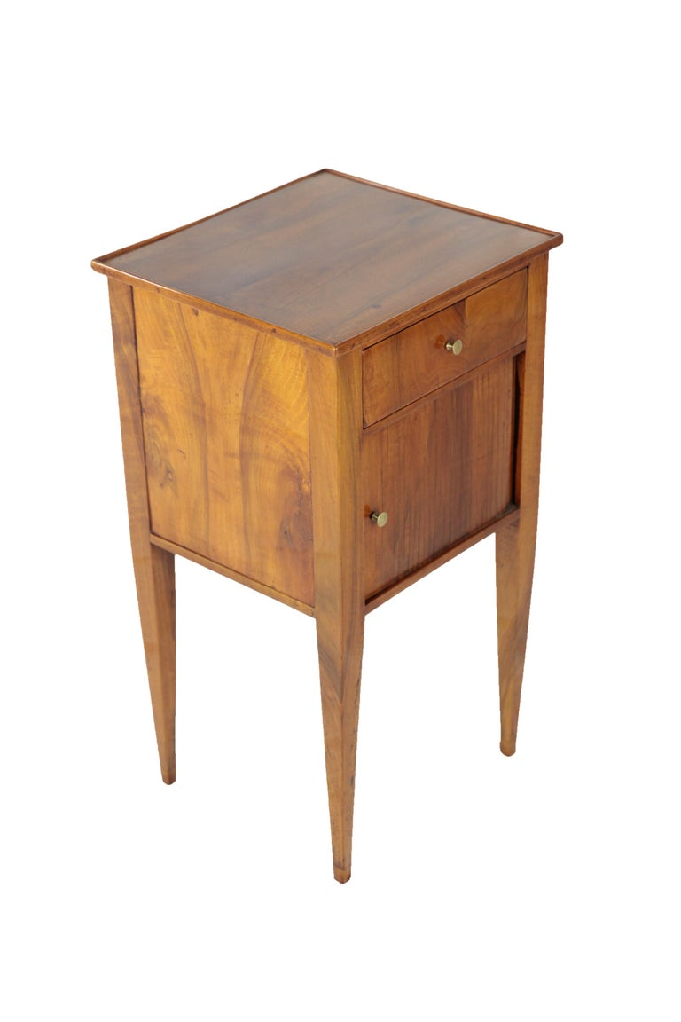 European Chest of Drawers, Side Table with Drawer and Sliding Door, Walnut, Germany, 1820 For Sale