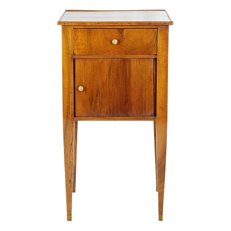 Chest of Drawers, Side Table with Drawer and Sliding Door, Walnut, Germany, 1820 For Sale