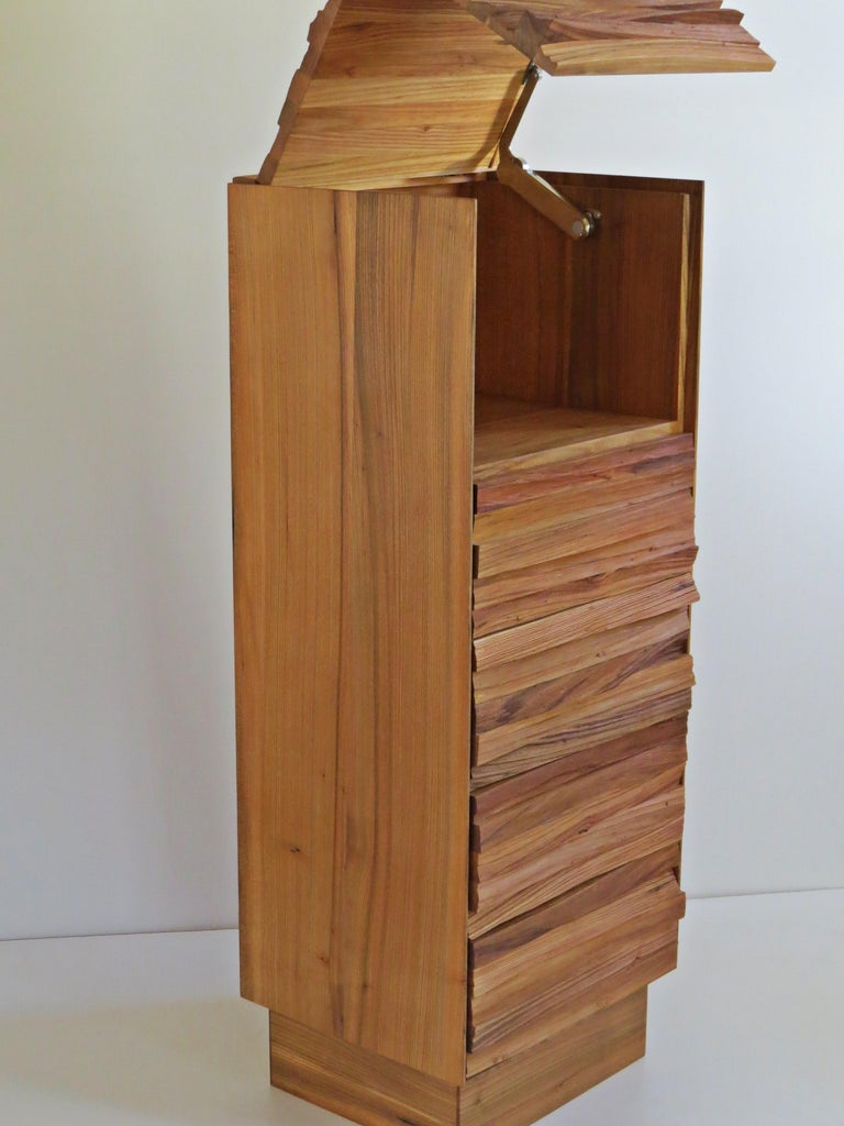 Hand-Crafted  Chest of Drawers, Split Wood Front, Handmade For Sale