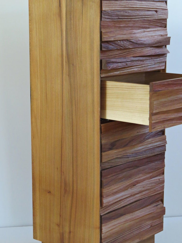 Contemporary  Chest of Drawers, Split Wood Front, Handmade For Sale