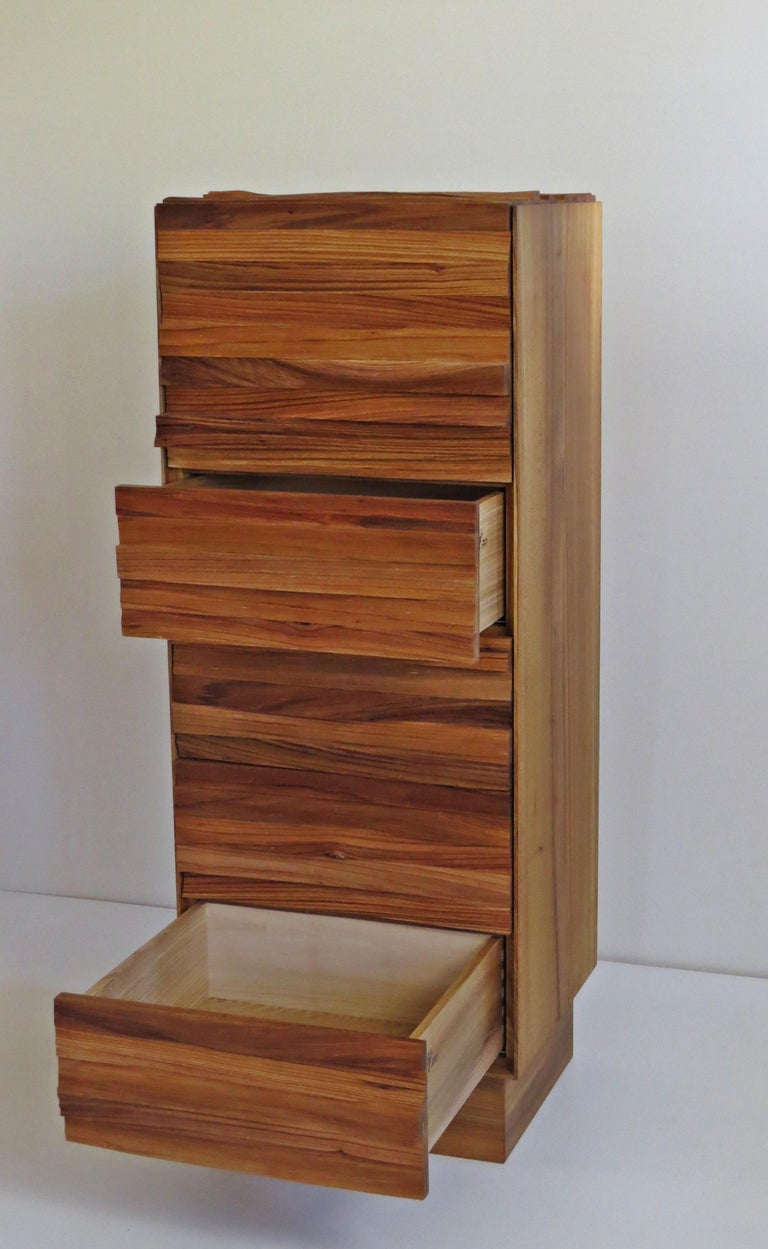 Elm  Chest of Drawers, Split Wood Front, Handmade For Sale