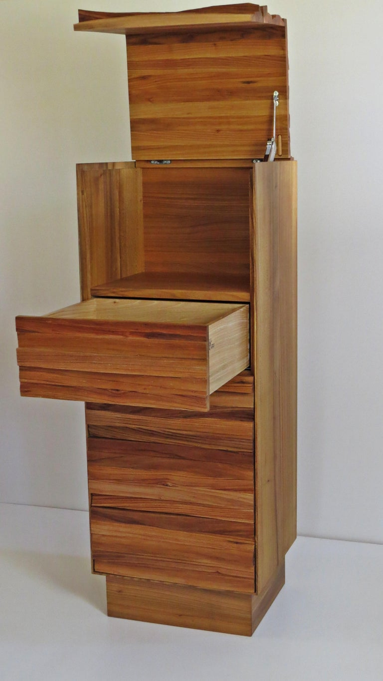 Chest of Drawers, Split Wood Front, Handmade For Sale 1