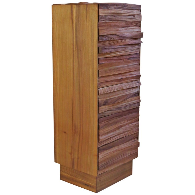 Chest of Drawers, Split Wood Front, Handmade For Sale