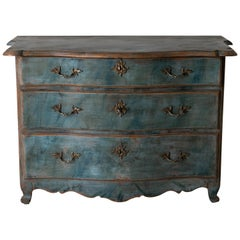 Chest of Drawers Swedish Blue Baroque 18th Century Sweden