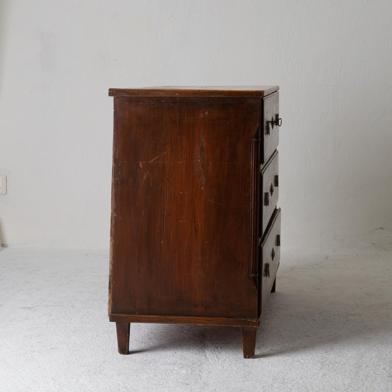 Wood Chest of Drawers Swedish Gustavian 18th Century Original Paint Brown, Sweden For Sale