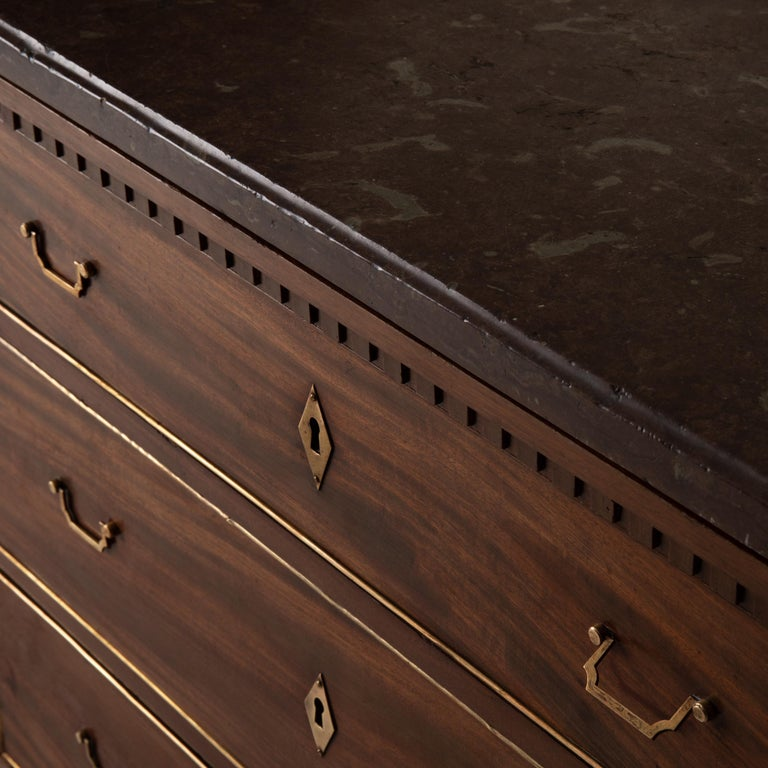 Chest of Drawers Swedish Mahogany Brass Gustavian Sweden For Sale 5