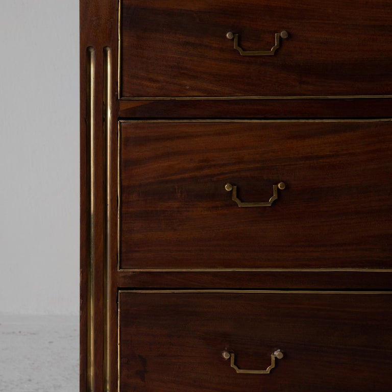 Late 18th Century Chest of Drawers Swedish Mahogany Brass Gustavian Sweden For Sale