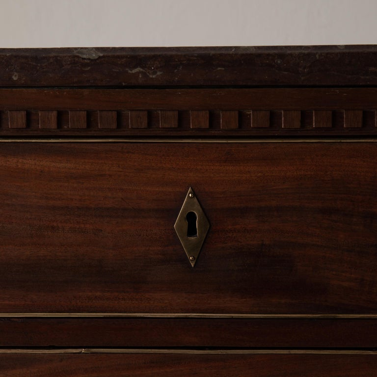 Wood Chest of Drawers Swedish Mahogany Brass Gustavian Sweden For Sale