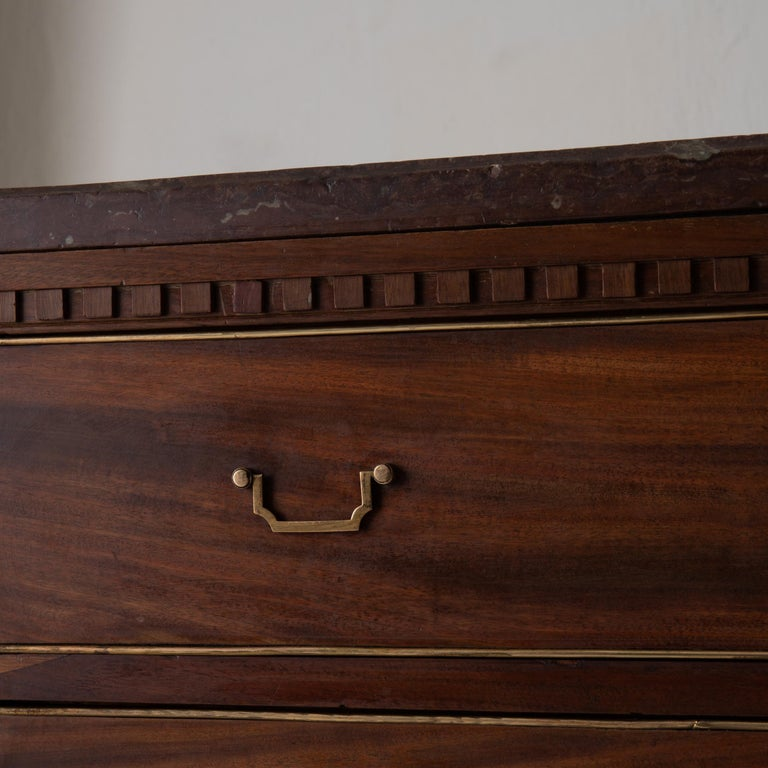 Chest of Drawers Swedish Mahogany Brass Gustavian Sweden For Sale 2