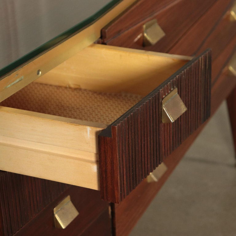 Chest of Drawers Veneered Wood Mirror Glass Brass, Italy, 1950s-1960s For Sale 5