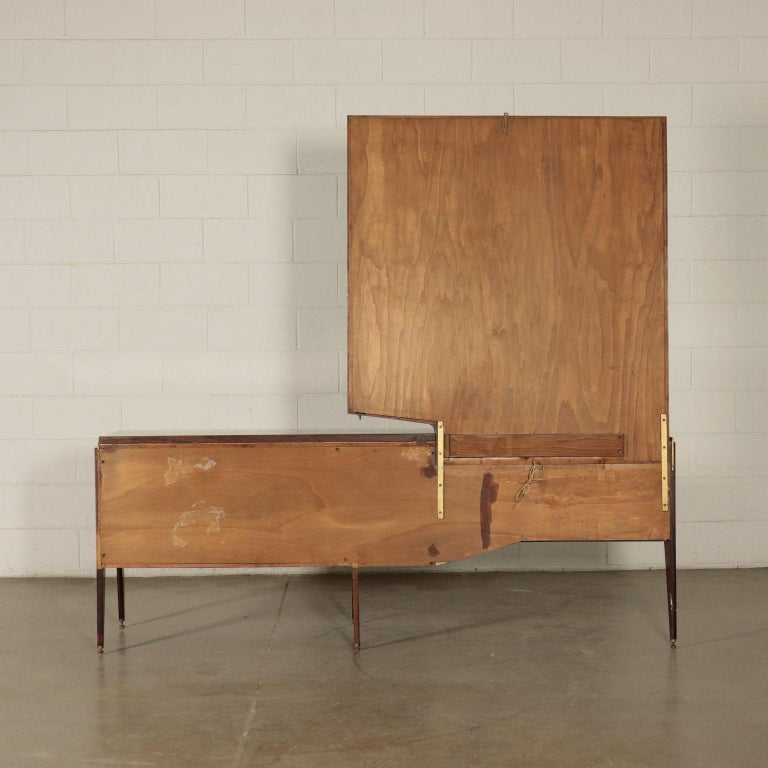 Chest of Drawers Veneered Wood Mirror Glass Brass, Italy, 1950s-1960s For Sale 7