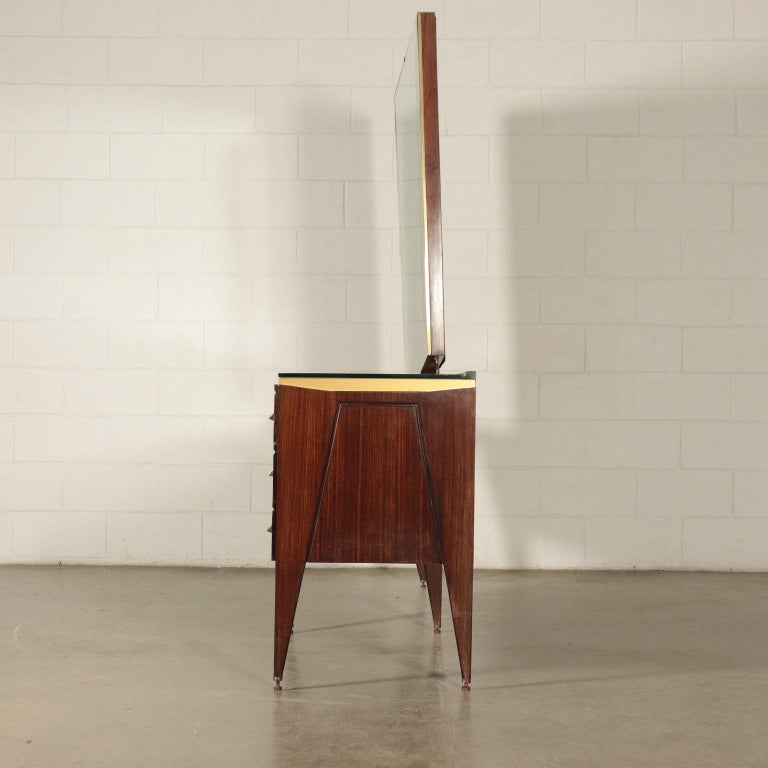 Mid-Century Modern Chest of Drawers Veneered Wood Mirror Glass Brass, Italy, 1950s-1960s For Sale