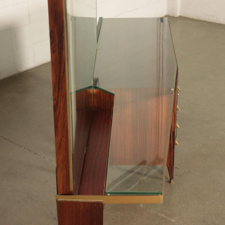 Italian Chest of Drawers Veneered Wood Mirror Glass Brass, Italy, 1950s-1960s For Sale