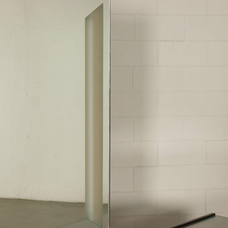 20th Century Chest of Drawers Veneered Wood Mirror Glass Brass, Italy, 1950s-1960s For Sale