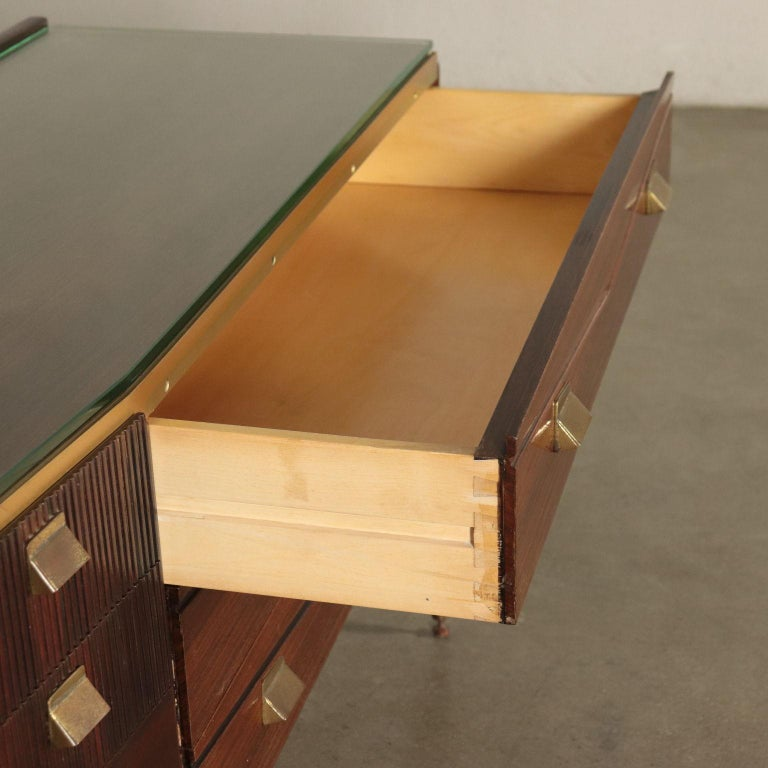 Chest of Drawers Veneered Wood Mirror Glass Brass, Italy, 1950s-1960s For Sale 2