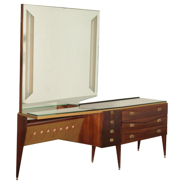 Chest of Drawers Veneered Wood Mirror Glass Brass, Italy, 1950s-1960s For Sale